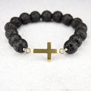 Cross lava bead bracelet