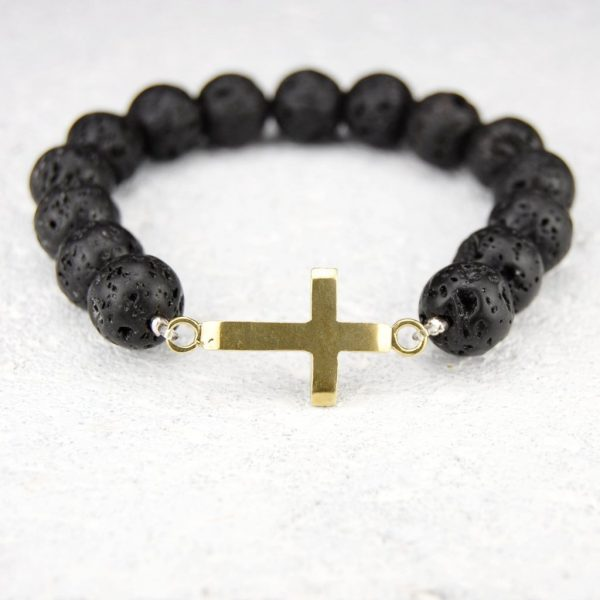 Cross lava bead bracelet