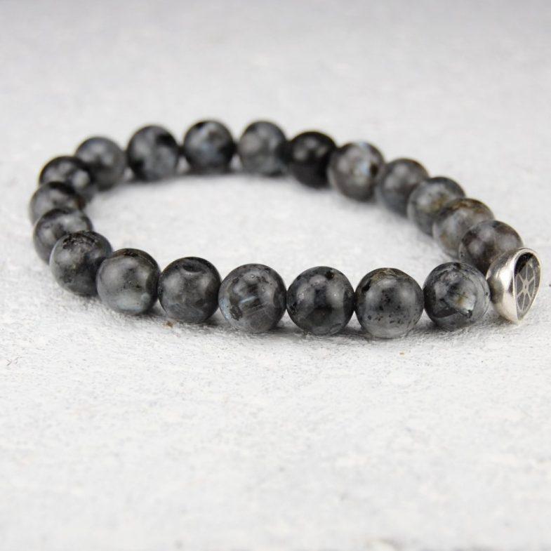 Larvikite bead bracelet