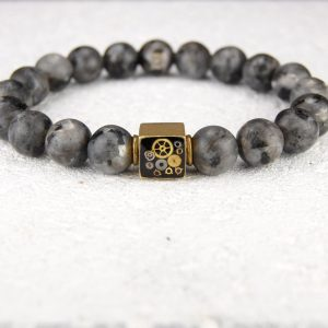 labradorite beaded stretch bracelet