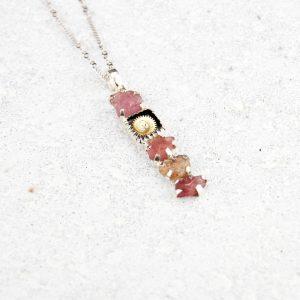 Pink sapphire gemstone necklace