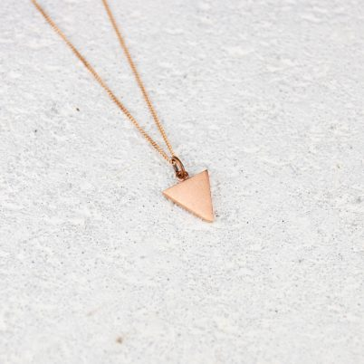 small copper triangle pendant