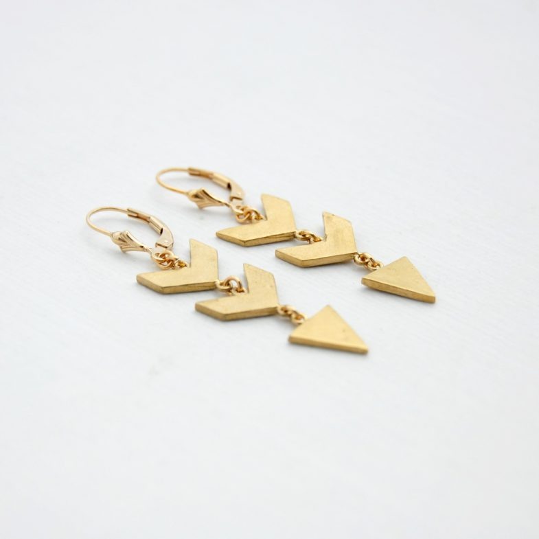 gold dangling chevron earrings