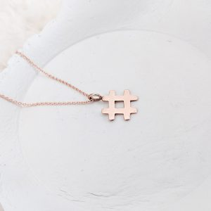 rose gold Hashtag pendant