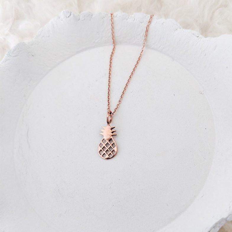 rose gold pineapple pendant