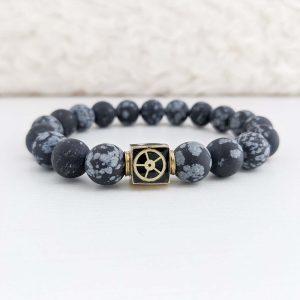 Matte Snowflake Obsidian Bead Bracelet