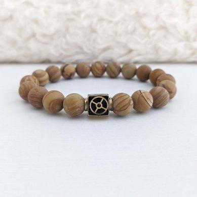 Wood Lace Bead Bracelet